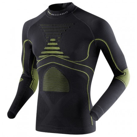 Pánské funkční triko X-Bionic Energy Accumulator® EVO Shirt Long Turtle Neck Charcoal/Yellow vel. S/M